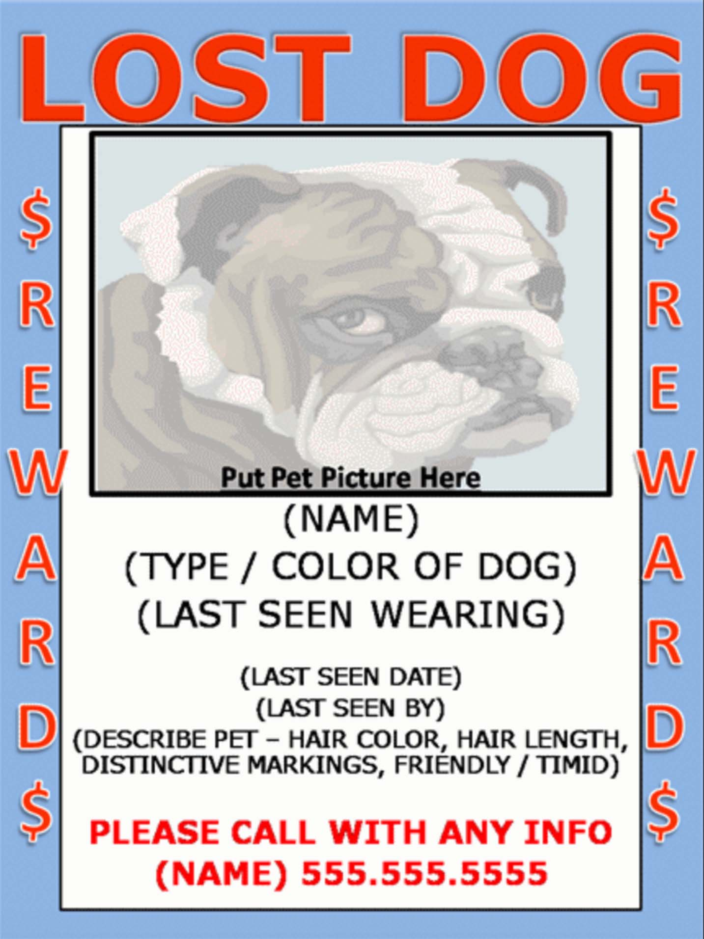 lost dog flyer sample pet angel santa fe